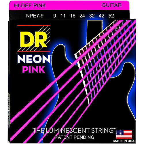 DR Strings Hi-Def NEON Pink Coated Lite 7-String Electric Guitar Strings (9-52)-thumbnail