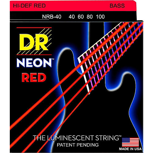 DR Strings Hi-Def NEON Red Coated Lite Bass Strings (40-100)-thumbnail