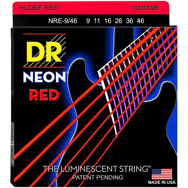 DR StringsHi-Def NEON Red Coated Lite-Heavy (9-46) Electric Guitar Strings
