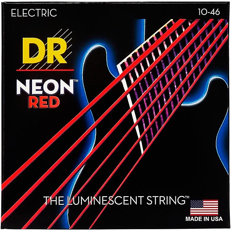 DR StringsHi-Def NEON Red Coated Medium (10-46) Electric Guitar Strings