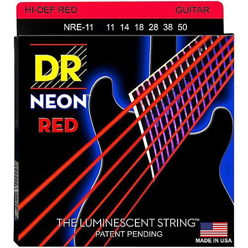 DR Strings Hi-Def NEON Red Coated Medium (11-50) Electric Guitar Strings