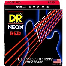 DR Strings Hi-Def NEON Red Coated Medium 5-String (45-125) Bass Guitar Strings