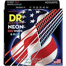 DR Strings Hi-Def NEON Red, White & Blue Acoustic Guitar Medium-Lite Strings (11-50)