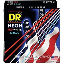 DR Strings Hi-Def NEON Red, White & Blue Electric Guitar Lite Strings (9-42)