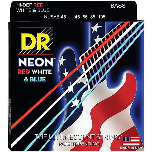 DR Strings Hi-Def NEON Red, White & Blue Electric Lite 4-String Bass Strings-thumbnail