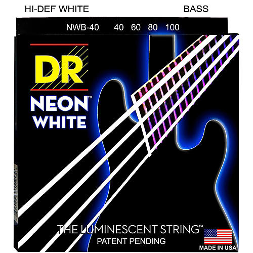 DR Strings Hi-Def NEON White Coated 4-String Bass Strings Lite (40-100)-thumbnail
