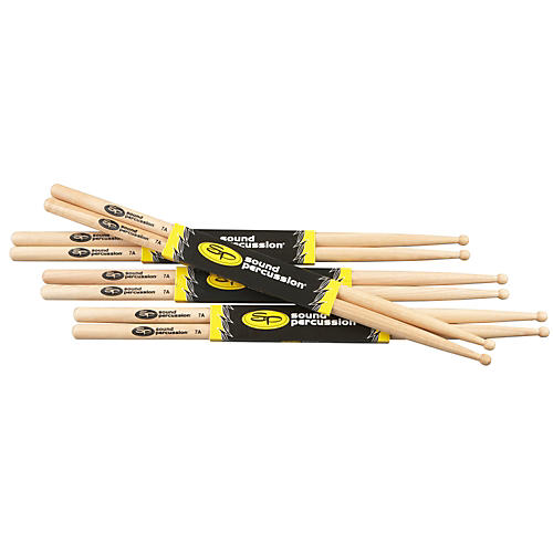 Sound Percussion Labs Hickory Drumsticks 4 Pack 7A Wood