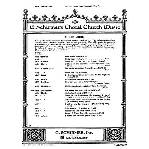 G. Schirmer Ho Every One That Thirsteth (SATB with soprano or tenor solo and Organ) composed by Will C. MacFarlane-thumbnail