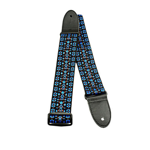 Perri's Hootenanny Design Woven Guitar Strap Blue/Black