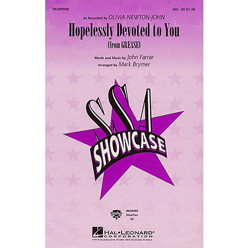 Hal Leonard Hopelessly Devoted to You (from Grease) ShowTrax CD by Olivia Newton-John Arranged by Mark Brymer