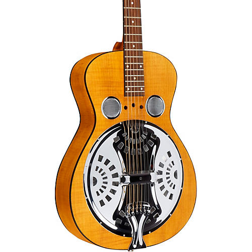 Dobro Hound Dog Deluxe Round Neck Acoustic-Electric with Pickup Vintage Brown