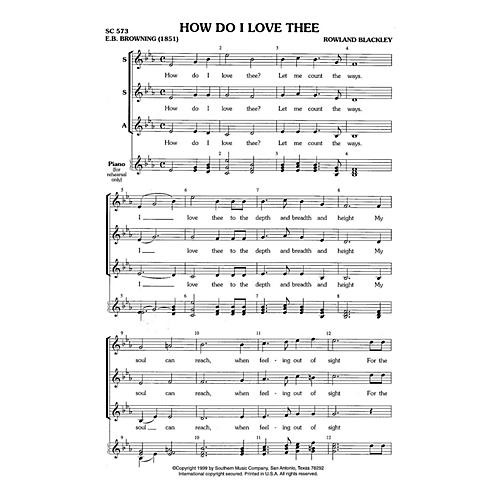 Hal Leonard How Do I Love Thee? (Choral Music/Octavo Secular Ssa) SSA Composed by Blackley, Rowland