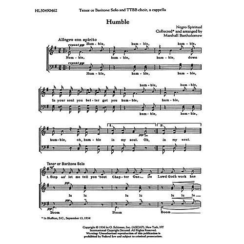 G. Schirmer Humble TTBB A Cappella arranged by Marshall Bartholomew