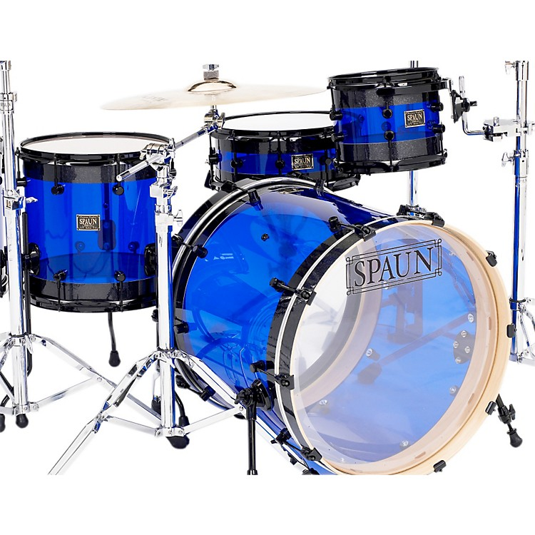 Spaun Hybrid 3-Piece Shell Pack with Black Hardware Black Sparkle with Blue Acrylic