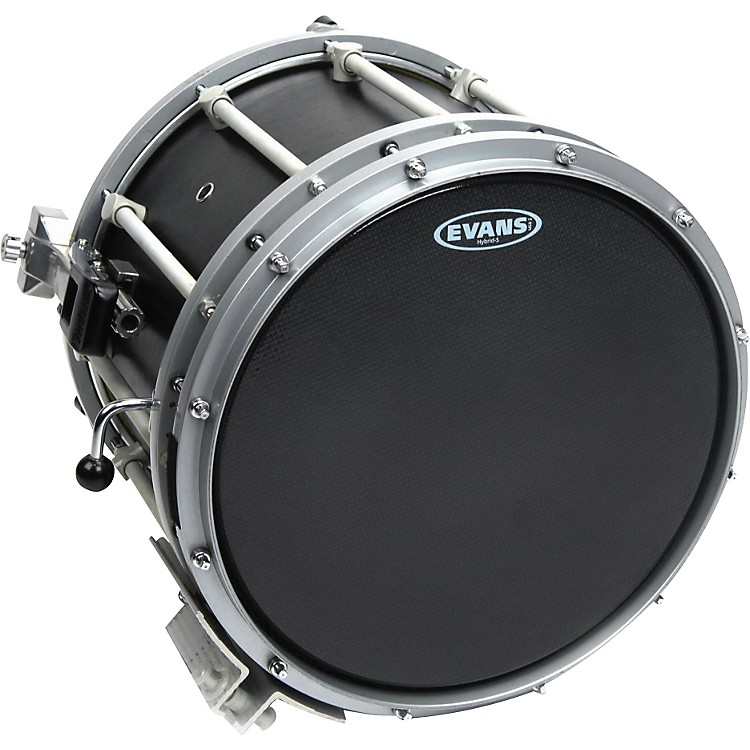 Evans Hybrid-Soft Marching Snare Drum Batter Head Black 13 inch