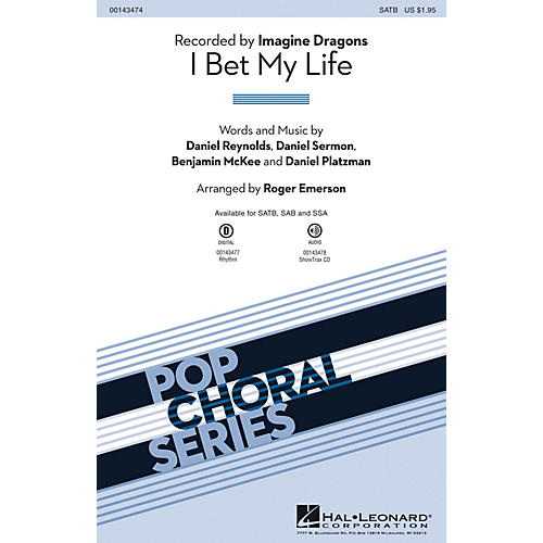 Hal Leonard I Bet My Life SSA by Imagine Dragons Arranged by Roger Emerson
