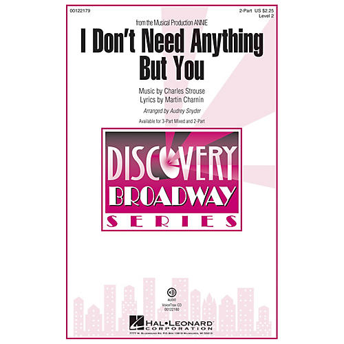 Hal Leonard I Don't Need Anything But You (from Annie) Discovery Level 2 2-Part arranged by Audrey Snyder-thumbnail