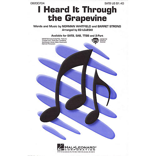 Hal Leonard I Heard It Through the Grapevine SAB Arranged by Ed Lojeski-thumbnail