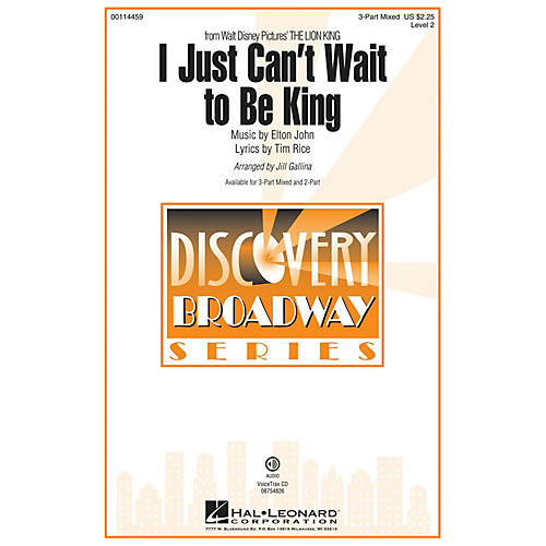 Hal Leonard I Just Can't Wait to Be King (from The Lion King) Discovery Level 2 2-Part 2-Part by Jill Gallina-thumbnail