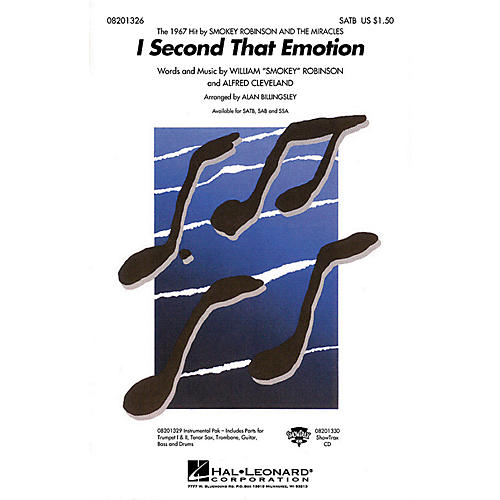 Hal Leonard I Second That Emotion SATB by The Miracles arranged by Alan Billingsley-thumbnail