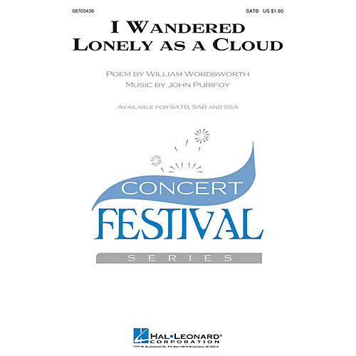 Hal Leonard I Wandered Lonely as a Cloud SATB composed by John Purifoy