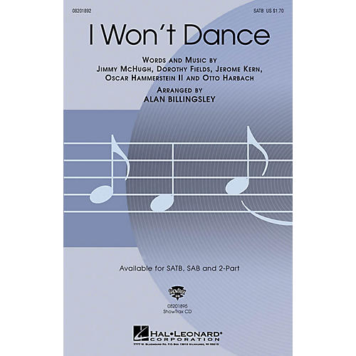 Hal Leonard I Won't Dance SATB arranged by Alan Billingsley-thumbnail