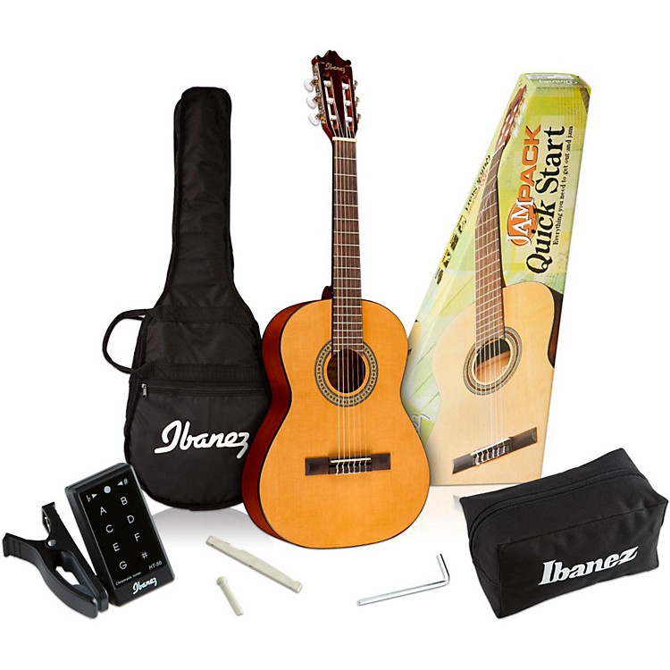 Ibanez IJC30 Quickstart 3/4 Scale Classical Guitar Pack Natural