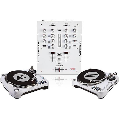 EPSILON INNO-PROPAK DJT-1300 USB Turntable (2) and INNO-MIX2 Mixer (1) White
