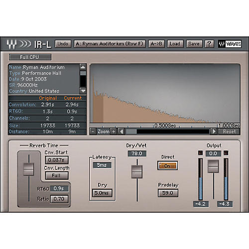 Waves IR-L Convolution Reverb Native/TDM/SG Software  Download