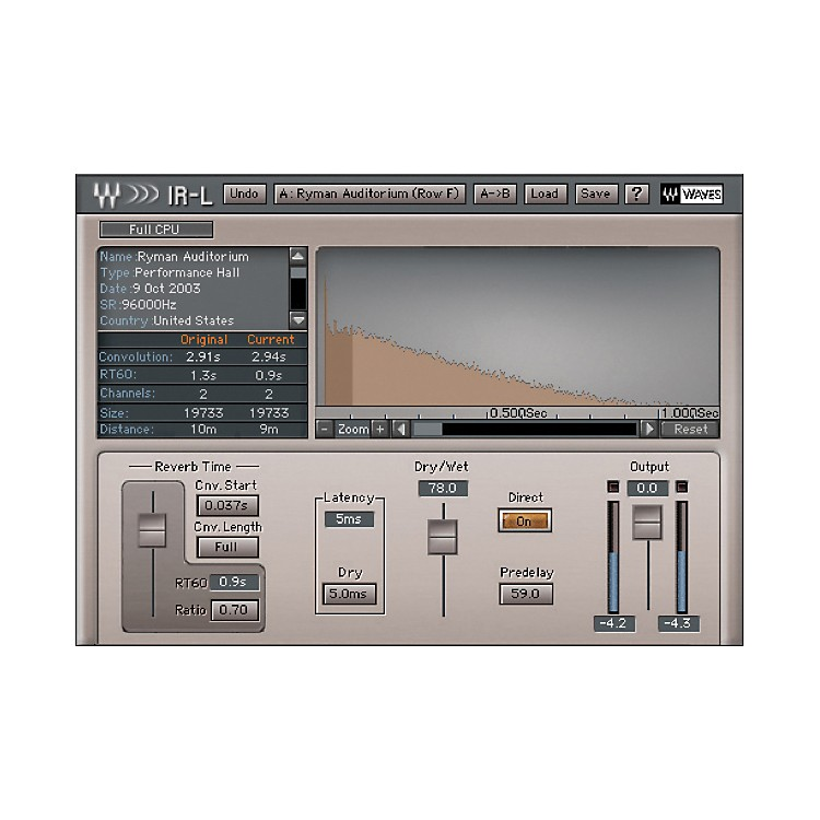 Waves IR1 Parametric Convolution Reverb Native License Software  Download