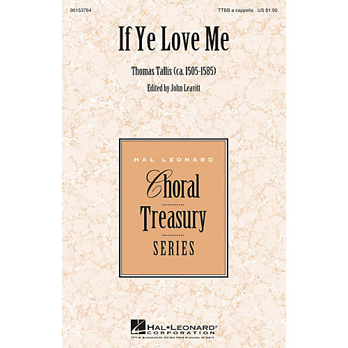 Hal Leonard If Ye Love Me TTBB A Cappella composed by Thomas Tallis-thumbnail