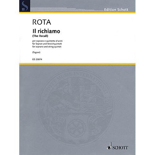 Schott Il richiamo (Soprano and String Quartet) Schott Series Softcover Composed by Nino Rota-thumbnail
