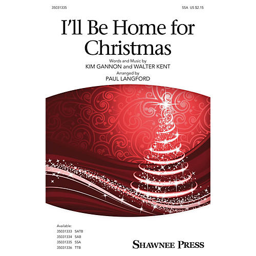 Shawnee Press I'll Be Home for Christmas SSA arranged by Paul Langford-thumbnail