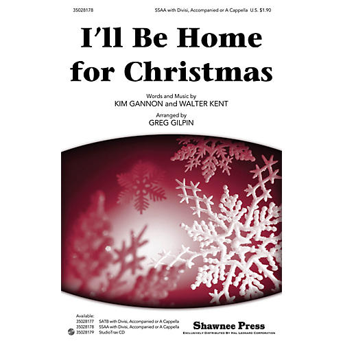 Shawnee Press I'll Be Home for Christmas SSAA arranged by Greg Gilpin-thumbnail