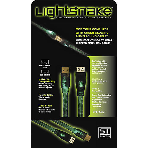 LightSnake Illuminated USB A to USB A Extension Cable