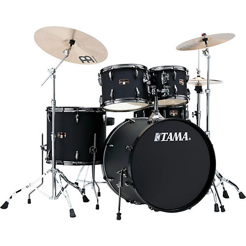 Tama Imperialstar 5-Piece Complete Kit Blacked Out Black with Meinl HCS Cymbals-thumbnail