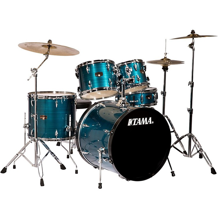 tama imperialstar 5 piece drum set with cymbals hairline blue musician 39 s friend. Black Bedroom Furniture Sets. Home Design Ideas