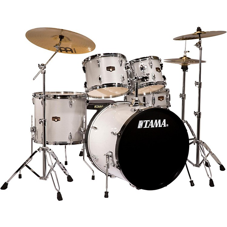 Tama Imperialstar 5-Piece Drum Set with Cymbals Hairline White Silver