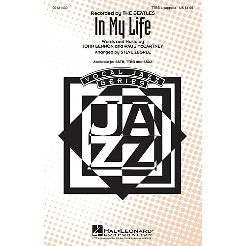 Hal Leonard In My Life TTBB A Cappella by The Beatles arranged by Steve Zegree