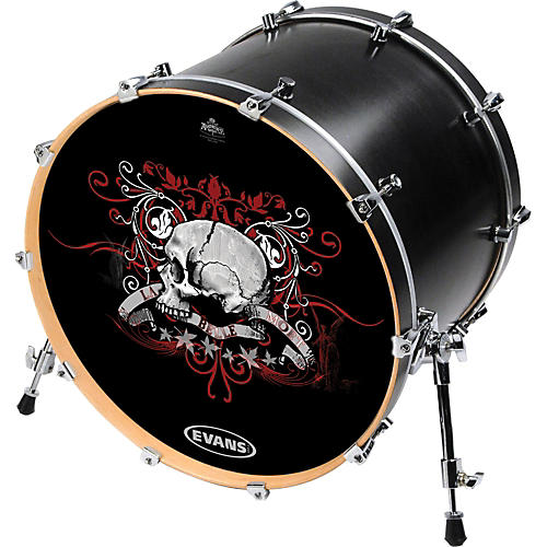 Evans Inked by Evans Alchemy Series Kick Drumhead 20 Inch CHECKED SKULL