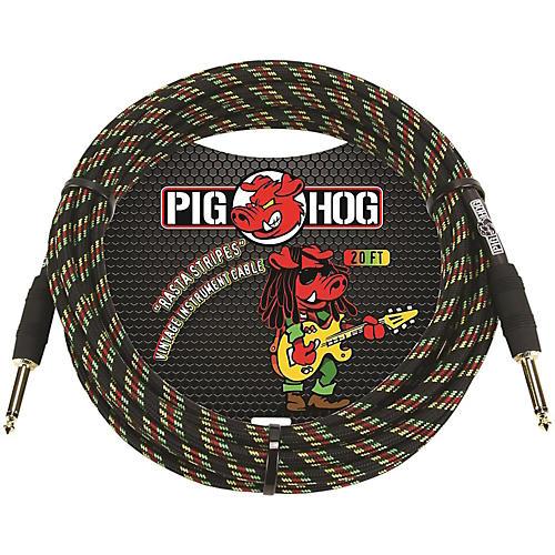 Pig Hog Instrument Cable 20 ft. Rasta Stripes