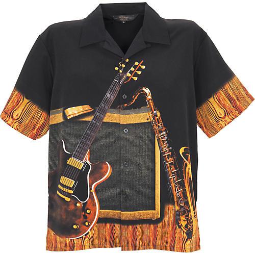 Rock House Los Angeles Instrumental Men's Short Sleeve Microfiber Button Down Shirt-thumbnail