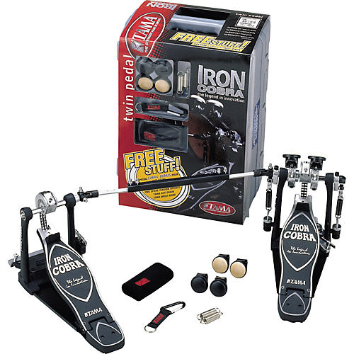 Tama Iron Cobra Flexi Glide Double Kick Drum Pedal with Cobra Coil and Bonus Package