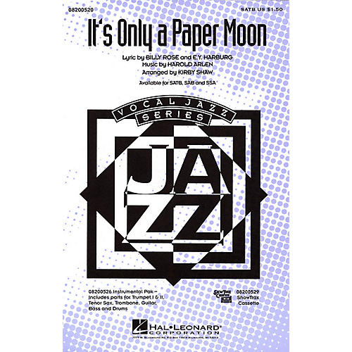 Hal Leonard It's Only a Paper Moon SATB arranged by Kirby Shaw