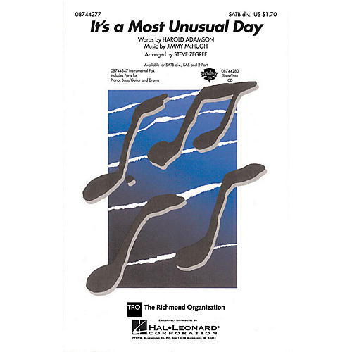 Hal Leonard It's a Most Unusual Day SATB Divisi arranged by Steve Zegree