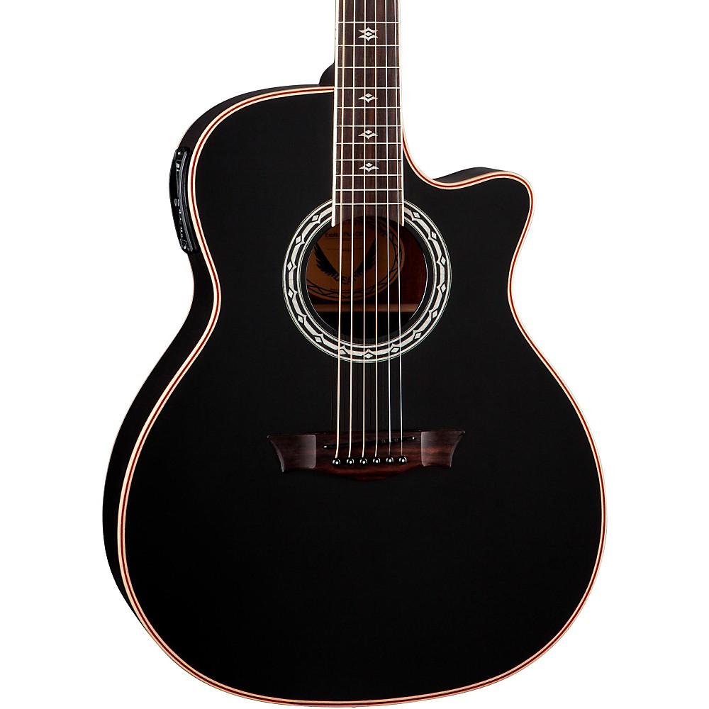 dean exotica plus solid top acoustic electric guitar classic black ebay. Black Bedroom Furniture Sets. Home Design Ideas