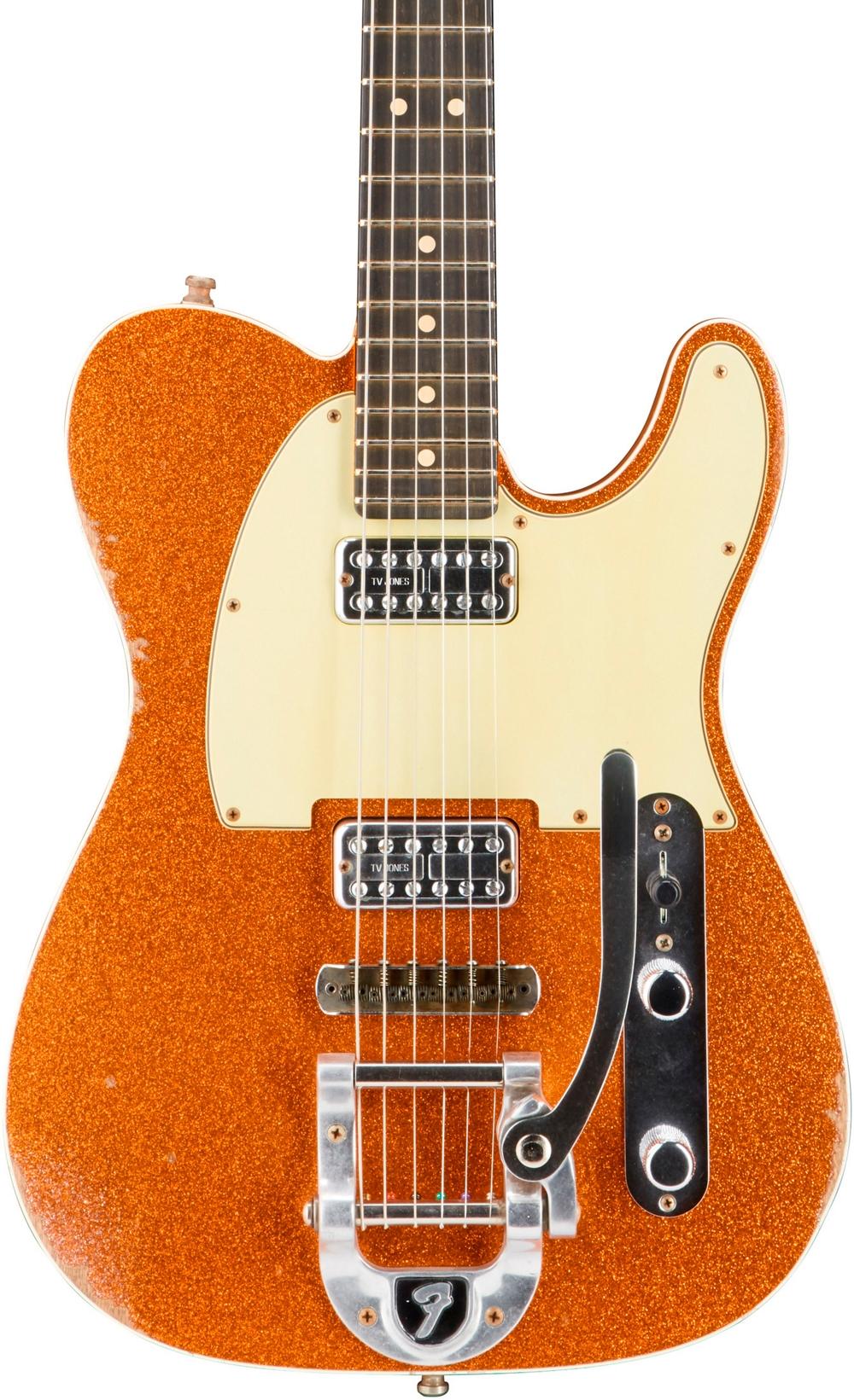fender custom shop double tv jones telecaster relic guitar bigsby orange sparkle ebay. Black Bedroom Furniture Sets. Home Design Ideas