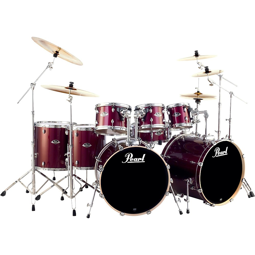 Pearl Export Double Bass 8 Piece Drum Set Wine Red : eBay