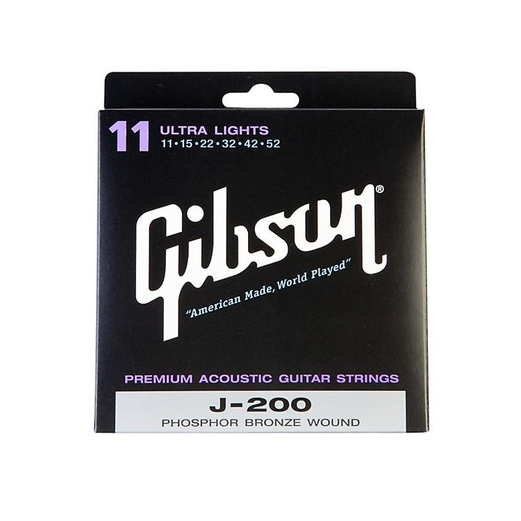 GibsonJ200UL Deluxe Phosphor Bronze Ultra Light Acoustic Guitar Strings
