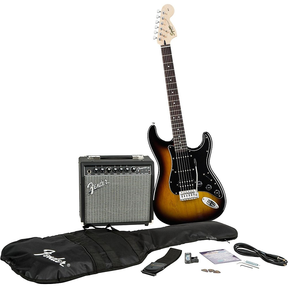 squier affinity stratocaster hss pack fender champ 20w guitar amp brown sunburst ebay. Black Bedroom Furniture Sets. Home Design Ideas